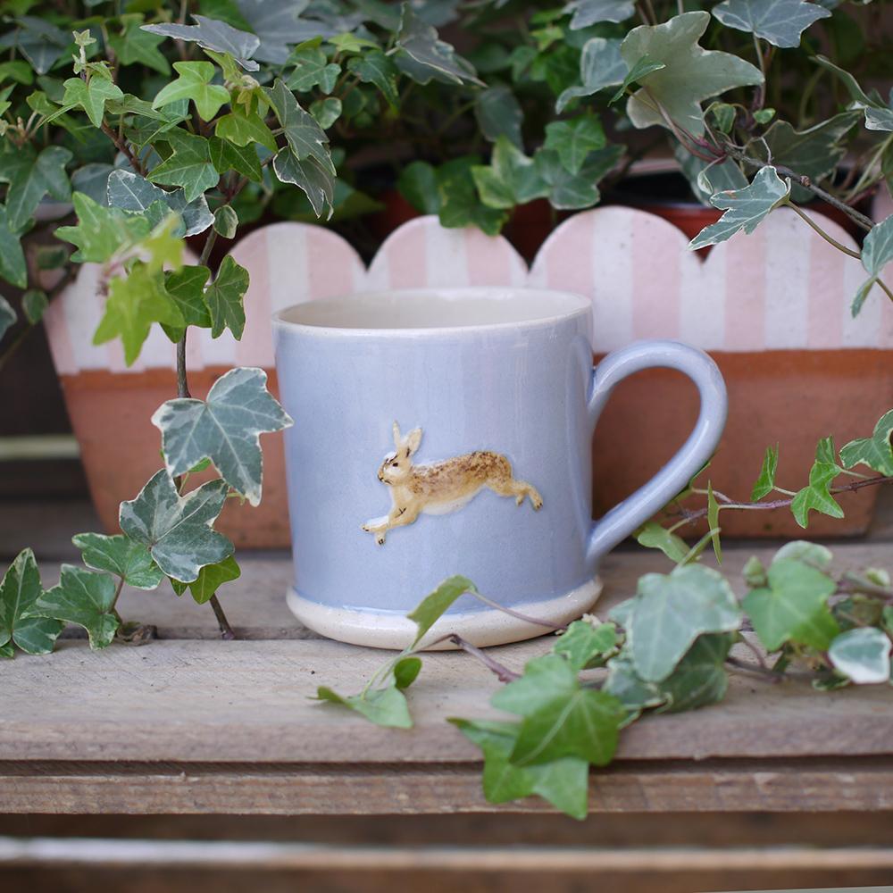 Jane Hogben Leaping Hare Pale Blue Mug