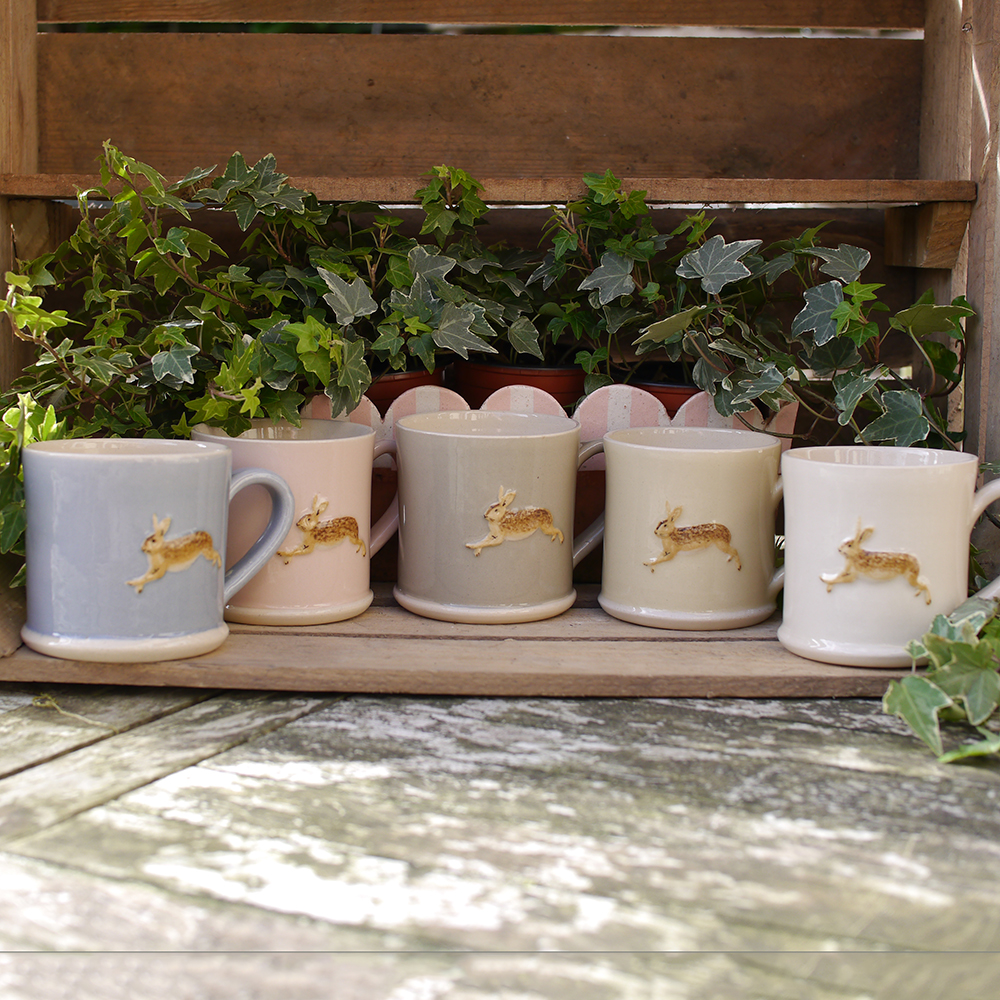Jane Hogben Leaping Hare Mugs in Pink, Cream, Taupe, Yellow and Pale Blue