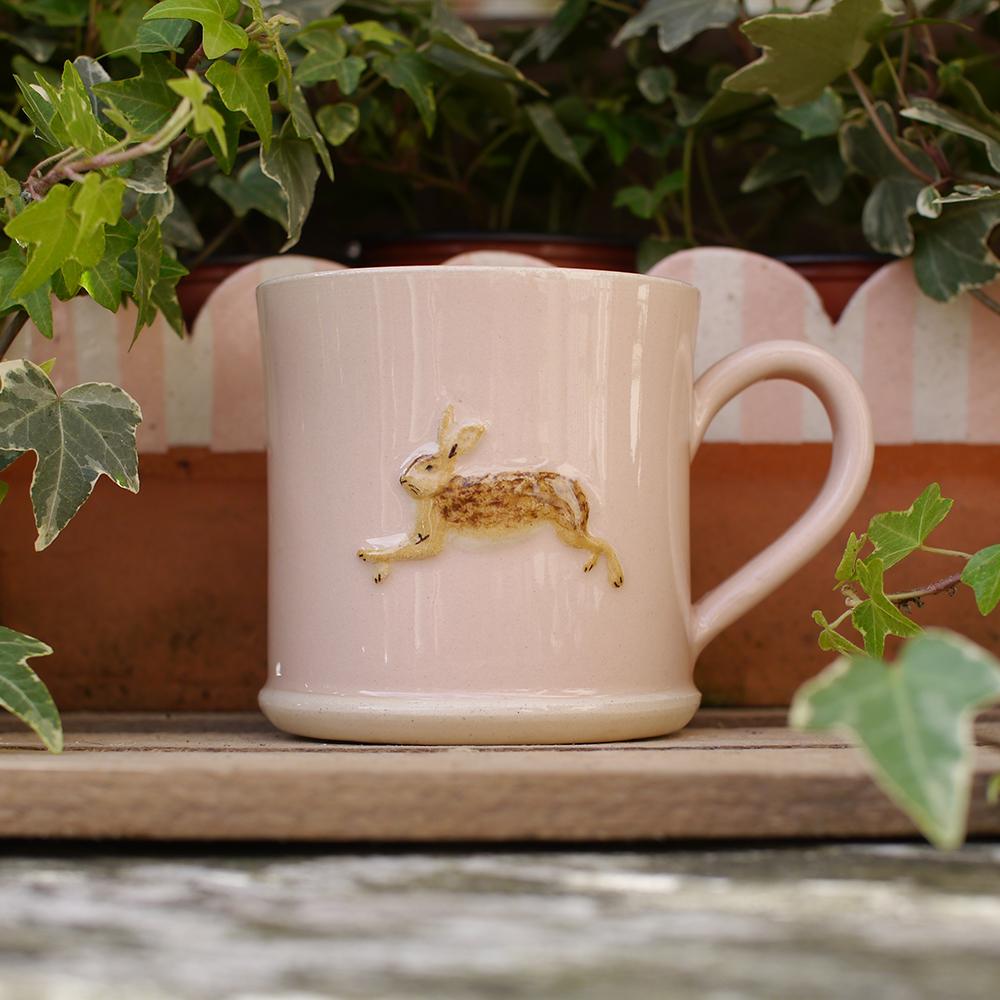 Jane Hogben Leaping Hare Mug in Pink