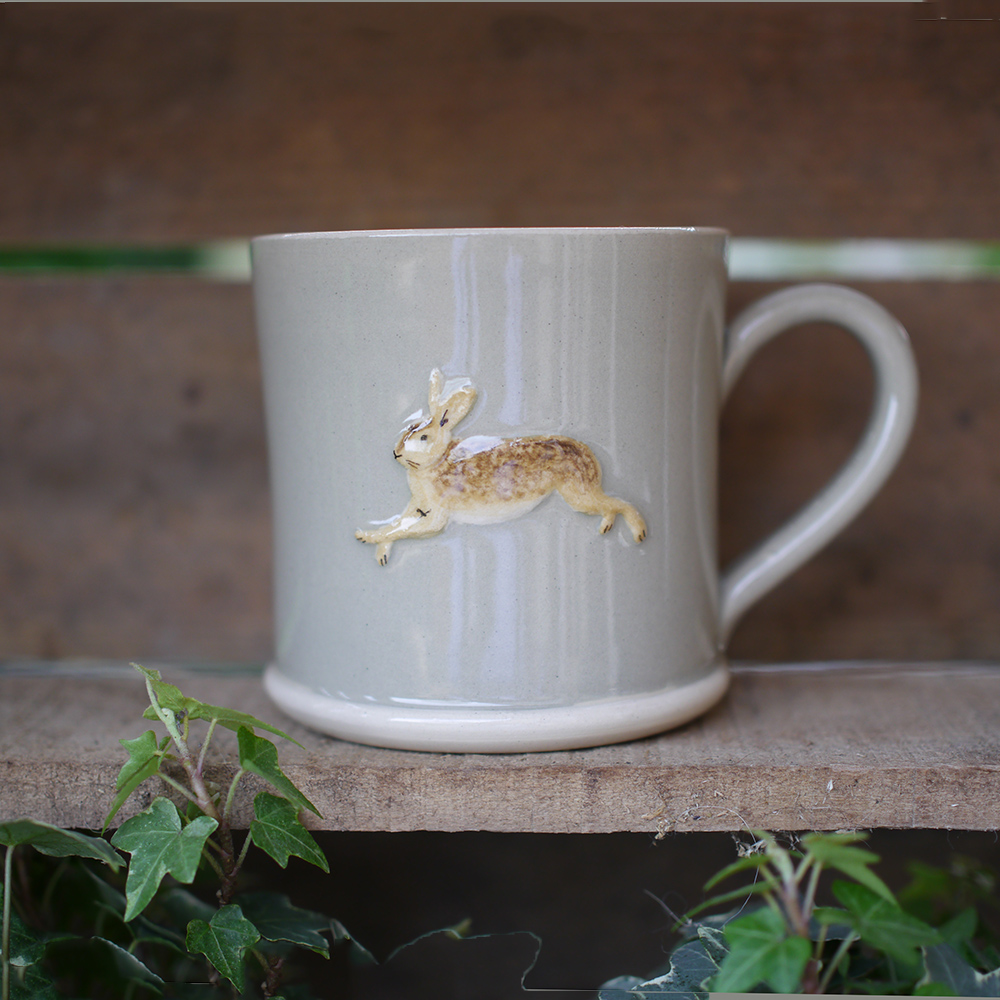 Jane Hogben Leaping Hare Mug in Taupe
