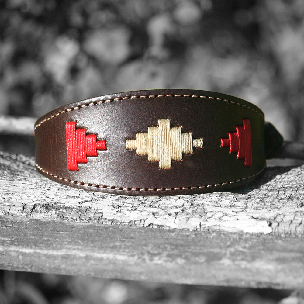 Cream and red polo dog collar