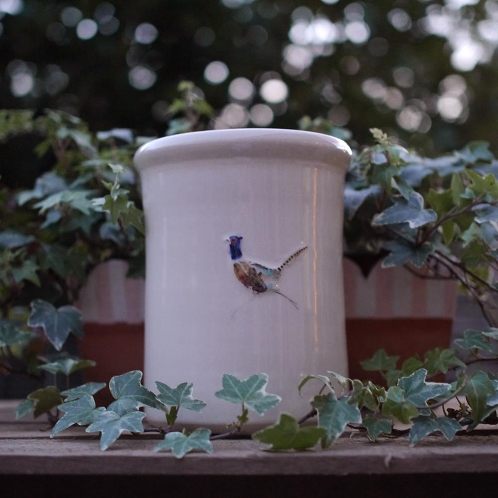 Jane Hogben Cream Utensil Pot Pheasant