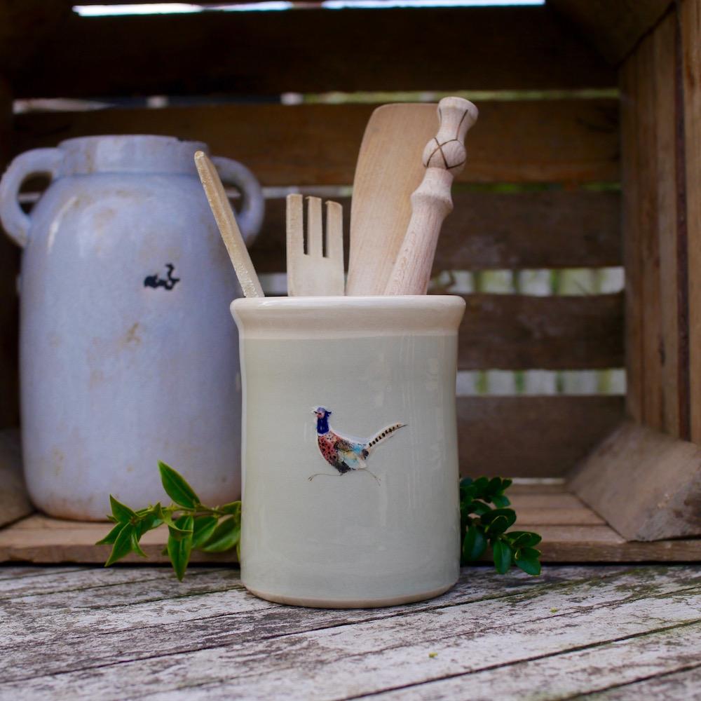 Jane Hogben Taupe Utensil Pot Pheasant