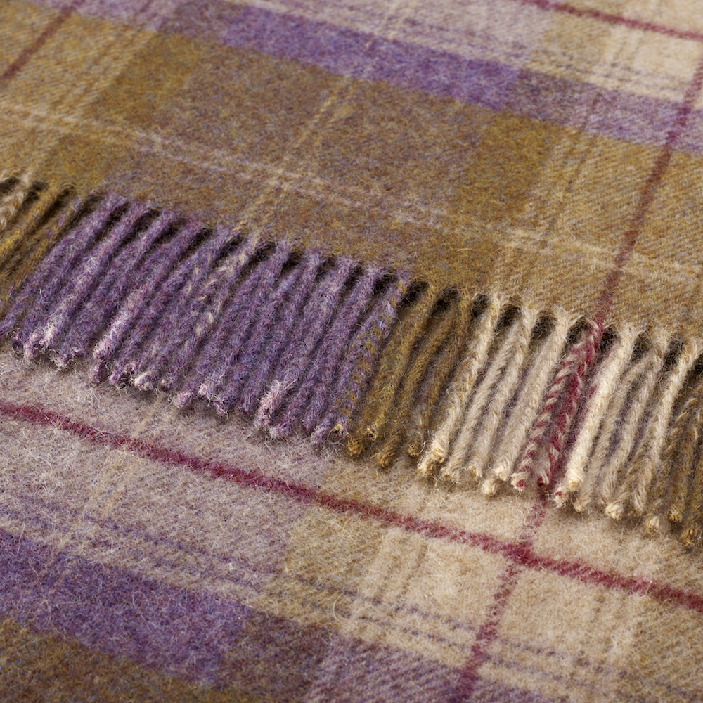 Bronte by Moon Grape Skye Check Pure New Wool Throw