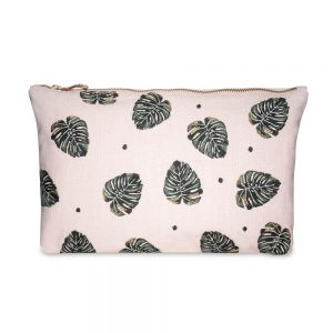 Jungle Leaf Pouch Rose by Elizabeth Scarlett
