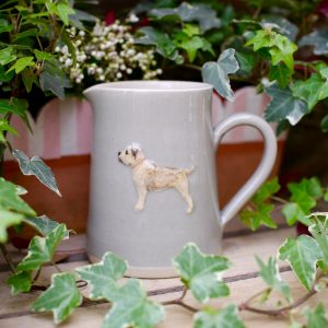 Jane Hogben Pottery Medium jug with Border Terrier design in Taupe