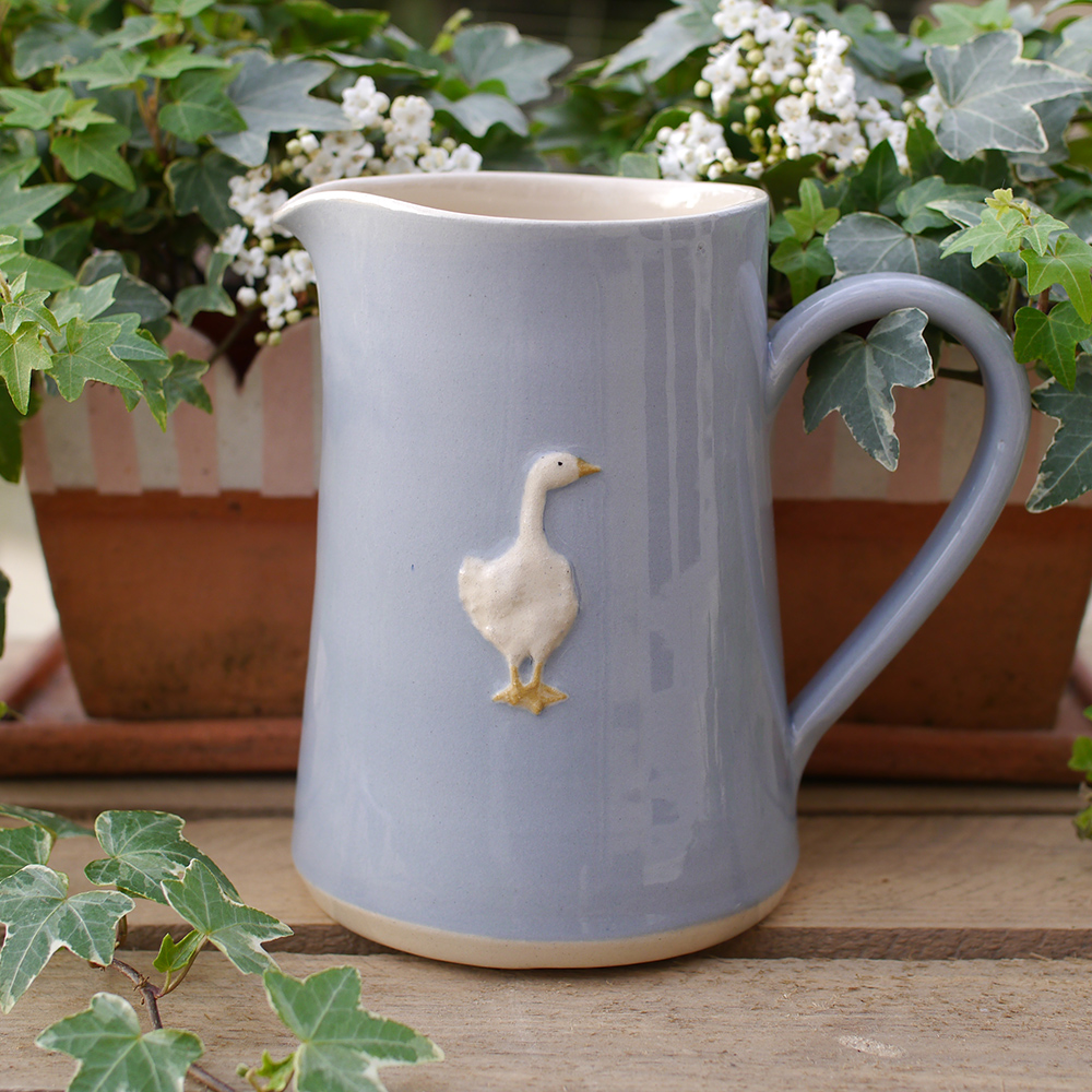 Large Jane Hogben Pottery Jug in a soft Blue featuring a charming goose design.