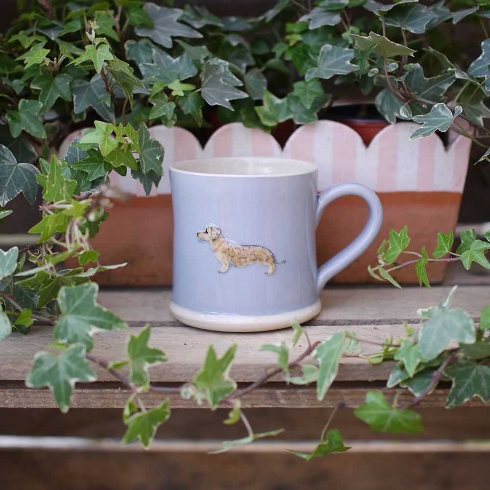 Jane Hogben Dachshund Mug in Pale Blue