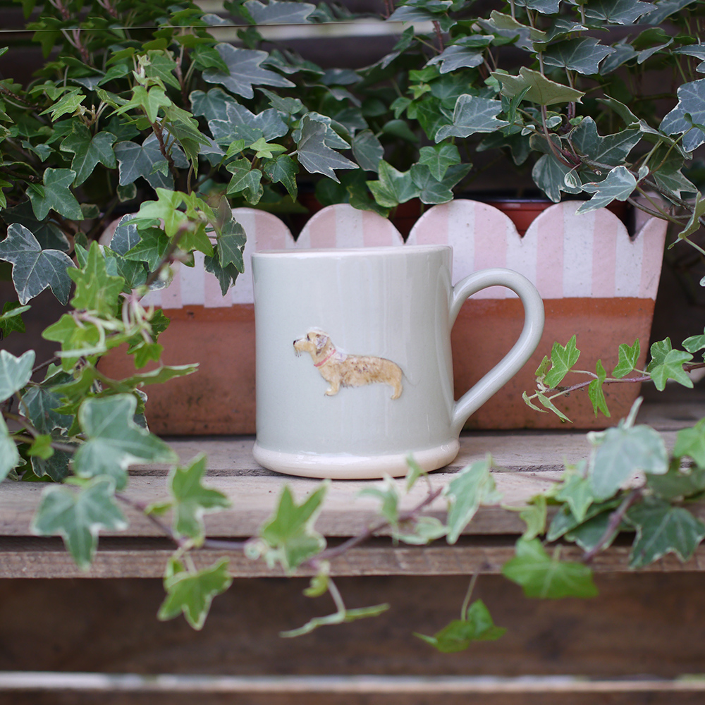 Jane Hogben Dachshund Mug in Pale Green