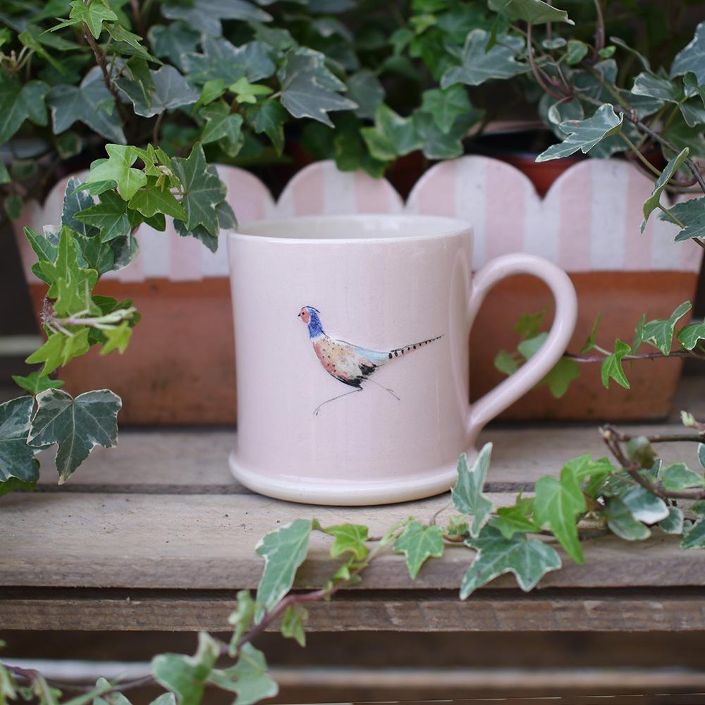 Jane Hogben Pheasant Pink Mug