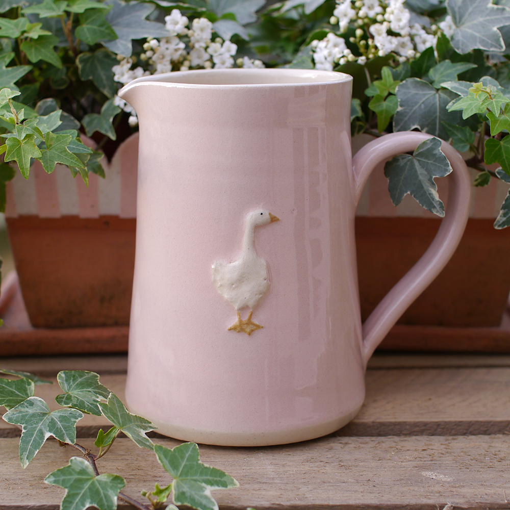 Large Jane Hogben Pottery Jug in pink featuring a charming goose design.