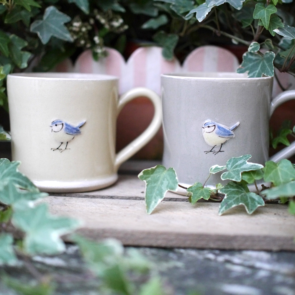 Large Jane Hogben Pottery Jugs in Taupe and Pale Yellow featuring a lovely Blue Tit design.