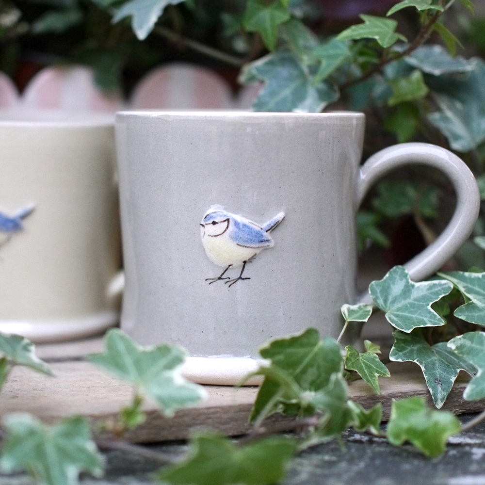 Large Jane Hogben Pottery Jug in Taupe featuring a lovely Blue Tit design.