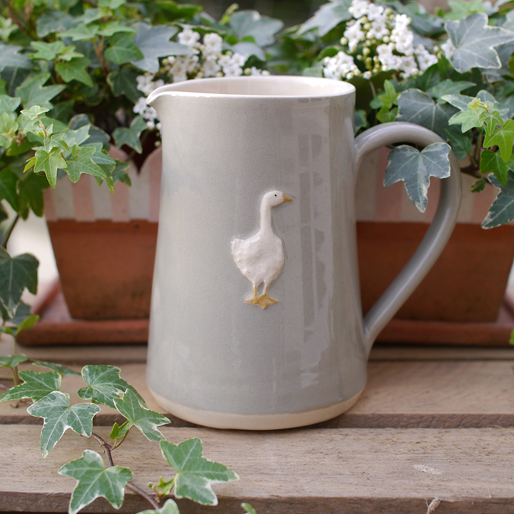 Large Jane Hogben Pottery Jug in Taupe featuring a charming goose design.