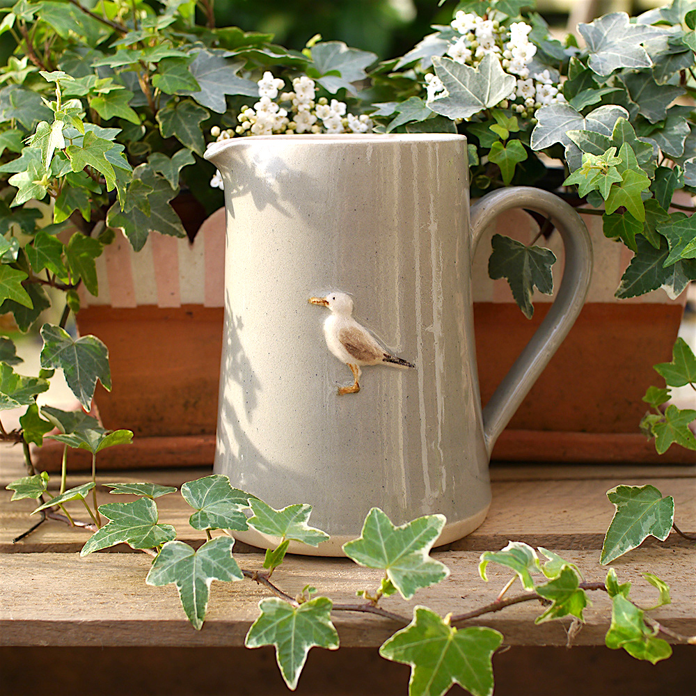 Large Jane Hogben Pottery Jug in Taupe featuring a charming seagull design.