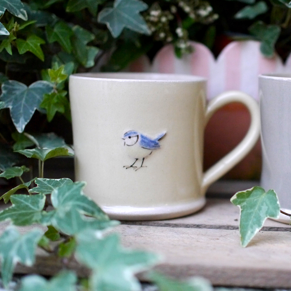 Large Jane Hogben Pottery Jug in Pale Yellow featuring a lovely Blue Tit design.