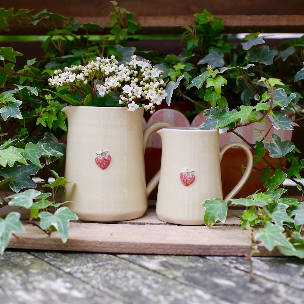 Jane Hogben Yellow Jugs Small and Medium Size with Strawberry