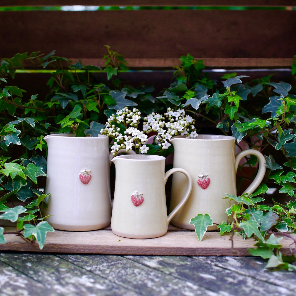 Jane Hogben Strawberry Jugs Medium and Small Yellow and Cream