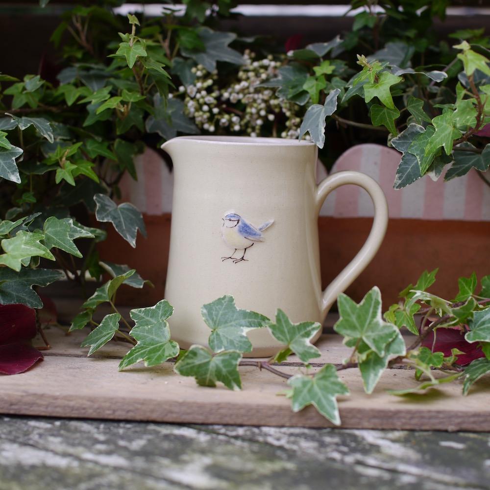 Jane Hogben Pottery Mudium jug with Blue Tit design