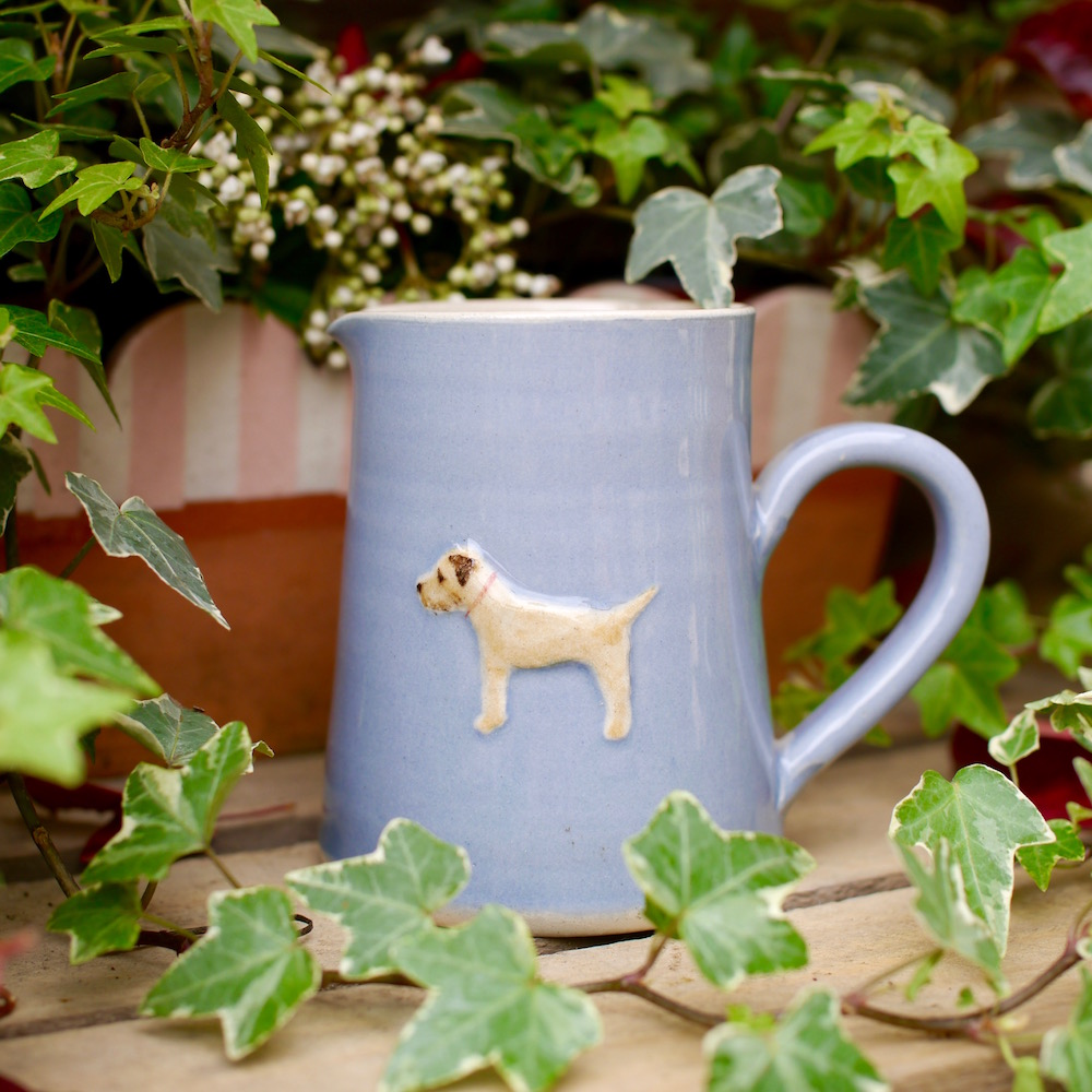 Jane Hogben Pottery Medium jug with Border Terrier design in Blue