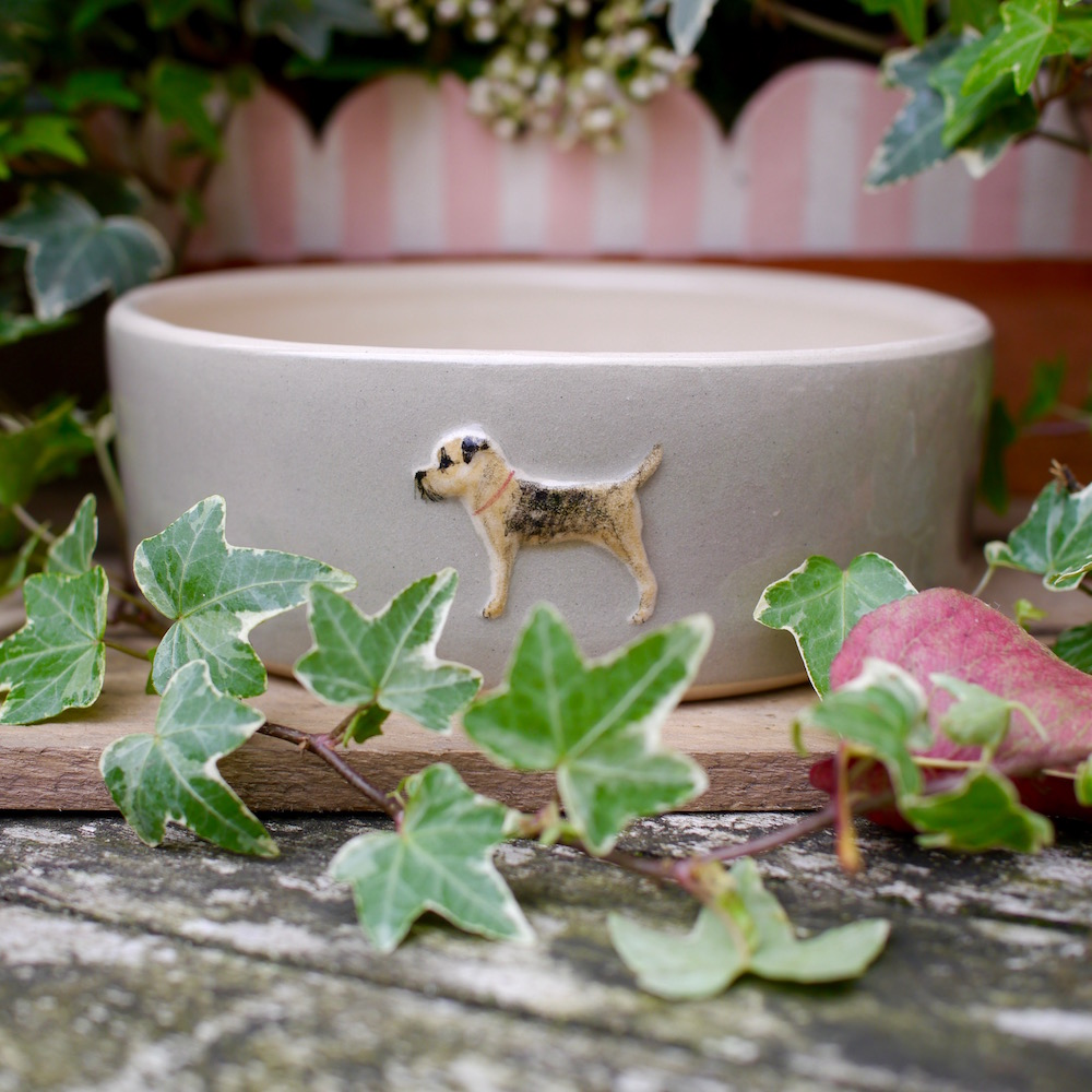 Jane Hogben Pottery Dog Bowl in Taupe featuring a Border Terrier design