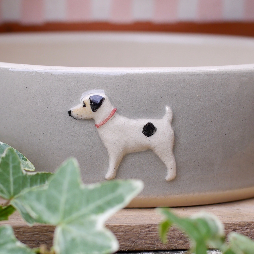 Jane Hogben Pottery Dog Bowl in Taupe featuring a Jack Russell design
