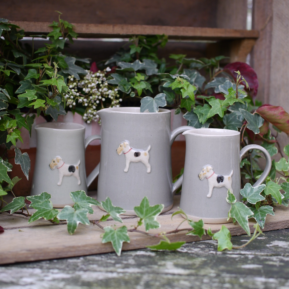 Jane Hogben Pottery jugs with Fox Terrier design in Taupe and green