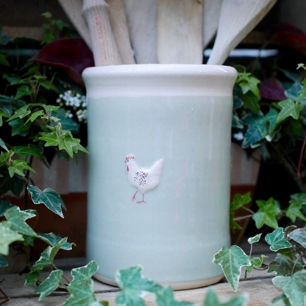 Jane Hogben Pottery Utensil Pot in Pale Green