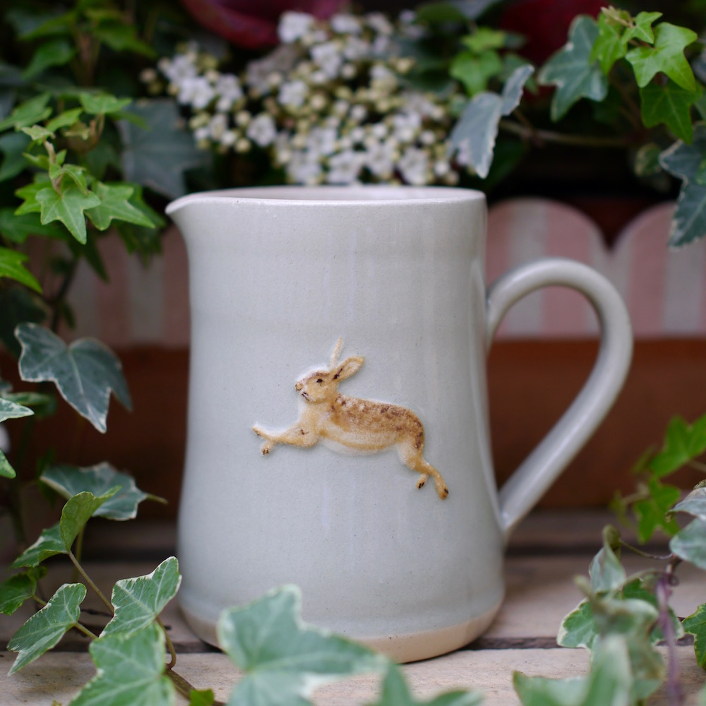 Jane Hogben Medium Jugs with Leaping Hare Design.