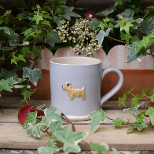 Jane Hogben Pottery Norfolk Terrier Mug in Blue