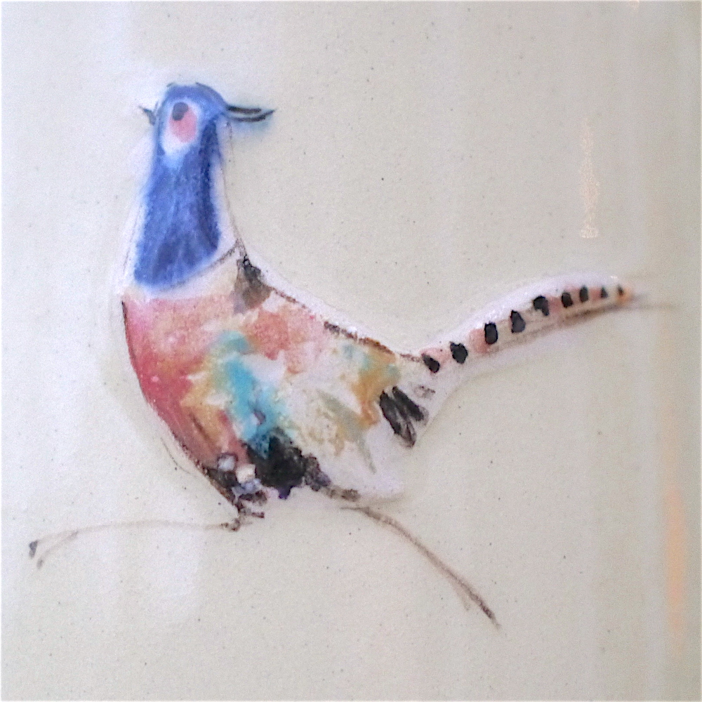 Large Jane Hogben Pottery Jugs in soft country colours featuring a lovely male pheasant design.