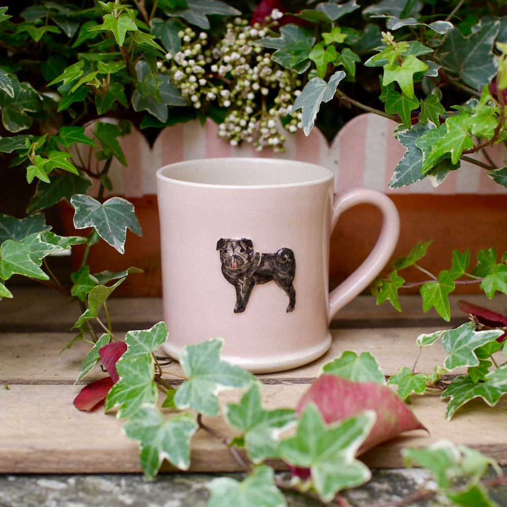 Jane Hogben Pottery Small Green Jug featuring a lovely black Pug