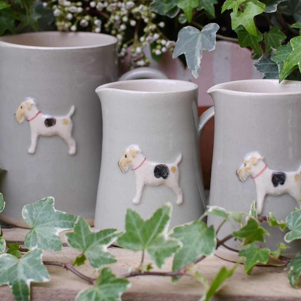 Jane Hogben Pottery Small jug with Fox Terrier design in Green