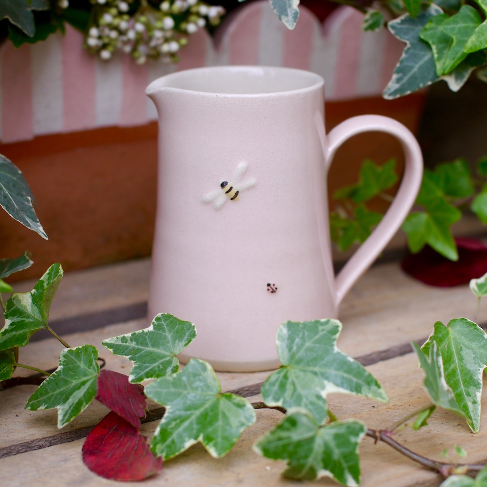 Jane Hogben Pottery Small Pink Jug featuring a little ladybird and bee design
