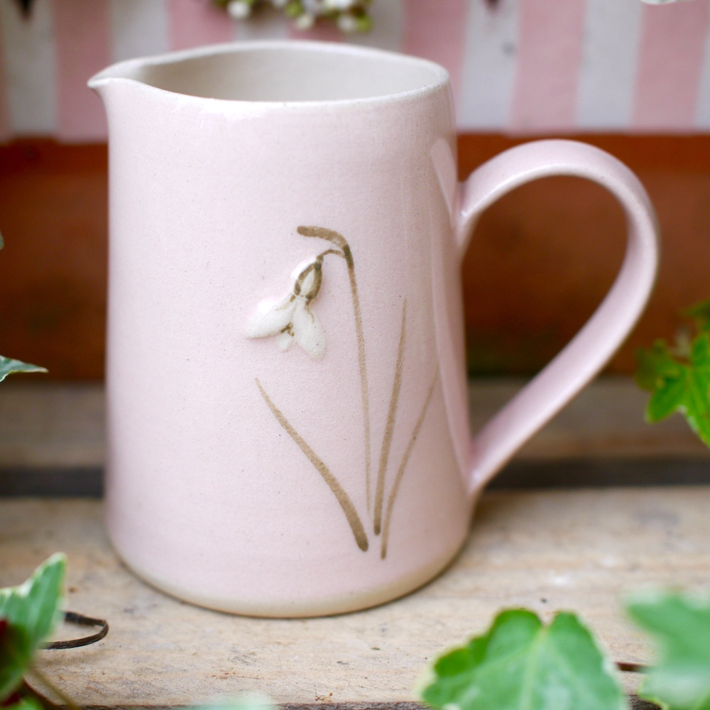 Pink Jane Hogben Jug featuring a Snowdrop design.