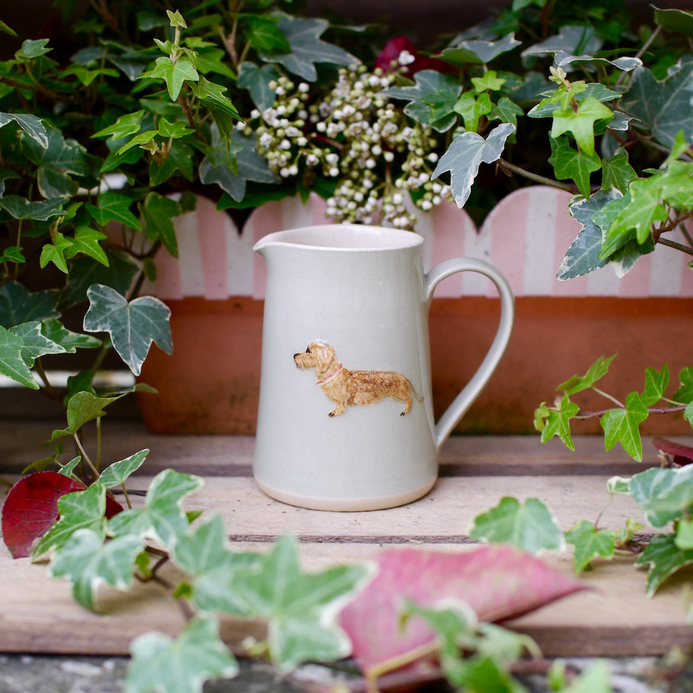 Jane Hogben Pottery Small Green Jug featuring a gorgeous Wire-Haired Daschund