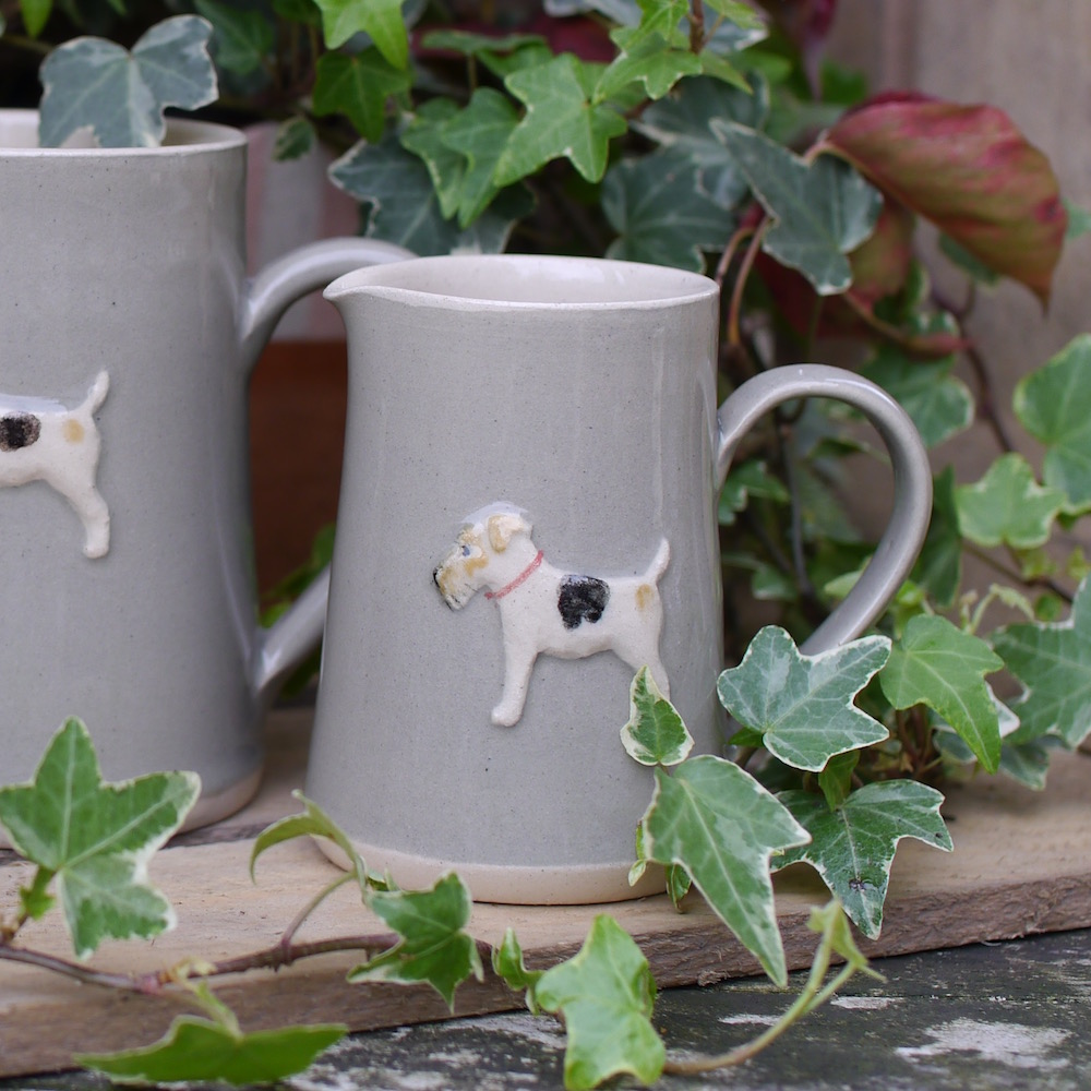 Jane Hogben Pottery Small jug with Fox Terrier design in Taupe