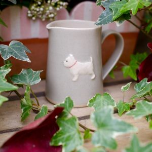 Small, taupe Jane Hogben Jug featuring a charming little Westie design.