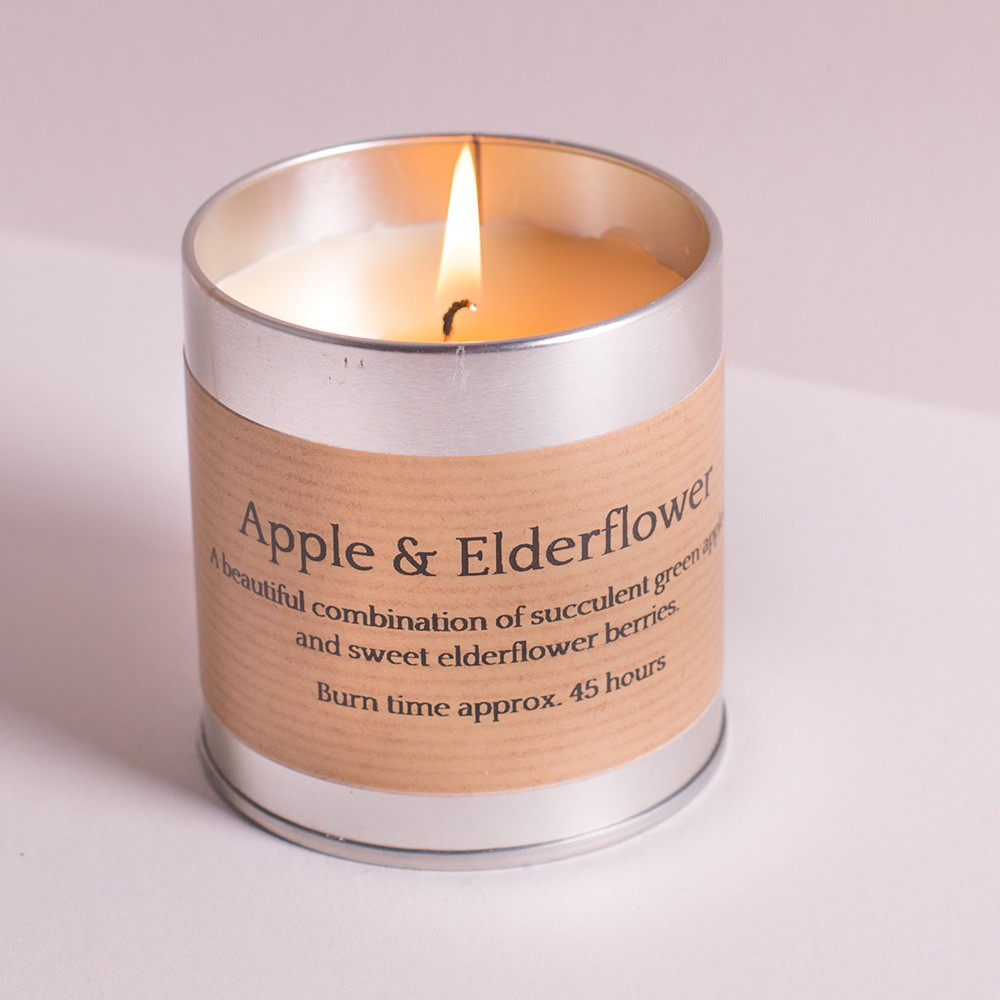 St Eval Candle tin with the lovely fragrance of Apple & Elderflower