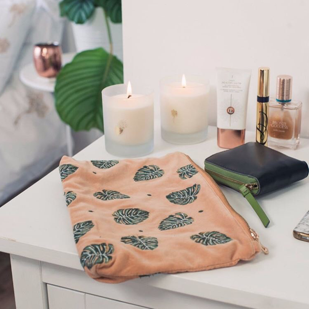 Velvet Jungle Leaf Pouch in Copper by Elizabeth Scarlett