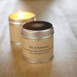 St Eval Candle tin with the popular fragrance of Bay & Rosemary