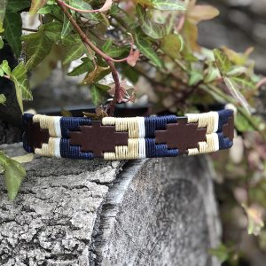 Blenheim Pampi Polo Dog Collar, Navy Blue, Cream and a thin white stripe