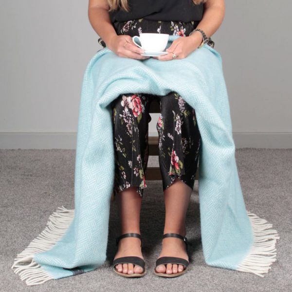 Duck Egg Basket Weave Knee Blanket