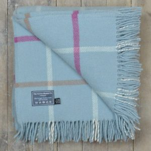 Duck Egg Blue Windowpane Knee Blanket