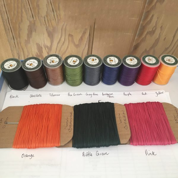 Just some of the thread colours available for custom colour choices.