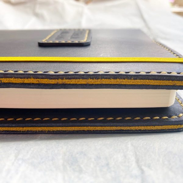 Journal & Hide Navy journal cover with yellow suede sandwich