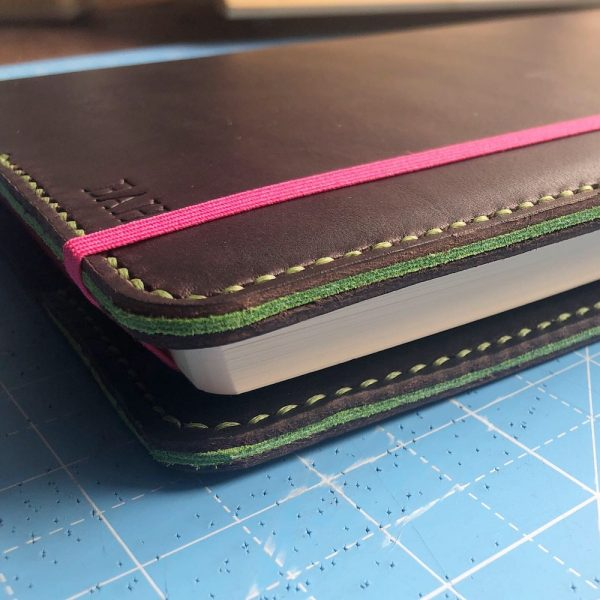 Journal & Hide A5 Journal Cover: Chocolate leather, Pea Green Stitching. Pea Green Suede Sandwich. New Pink Notebook.