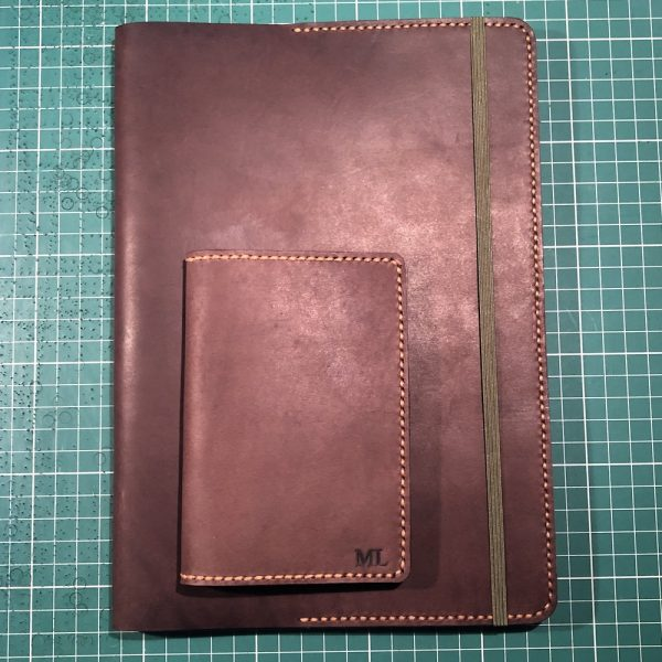 Journal & Hide B5 Journal Cover and matching passport cover: Chocolate leather, Caramel Stitching. Army Notebook.