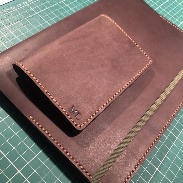 Journal & Hide B5 Journal Cover: Chocolate leather, Caramel Stitching, Forest Green Suede Sandwich.