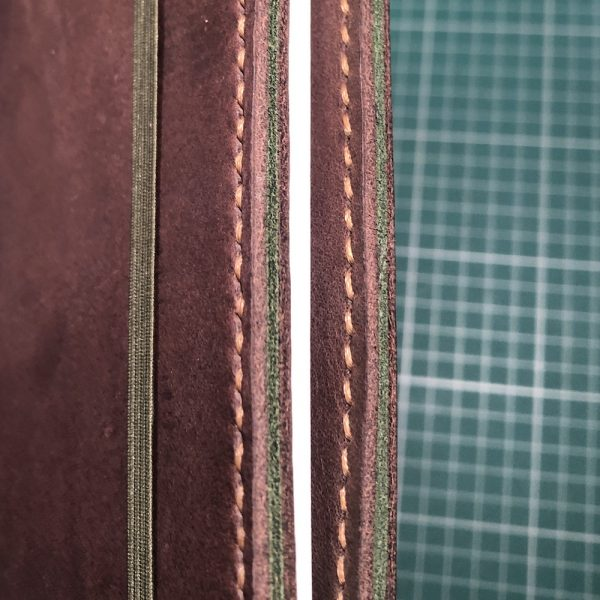 Journal & Hide B5 Journal Cover: Chocolate leather, Caramel Stitching. Forest Green Suede Sandwich. Army Notebook.